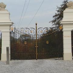 Gates und schmiedeeisernen Zaun